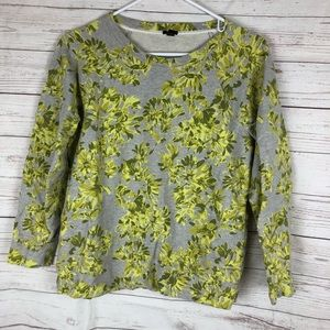 J. Crew flowered gray sweatshirt size medium